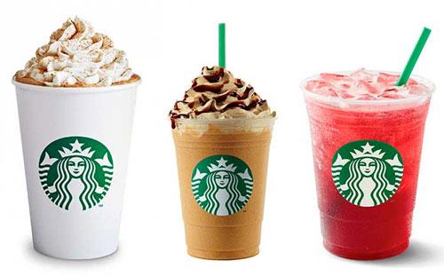 Quais são as bebidas do cardápio da Starbucks?